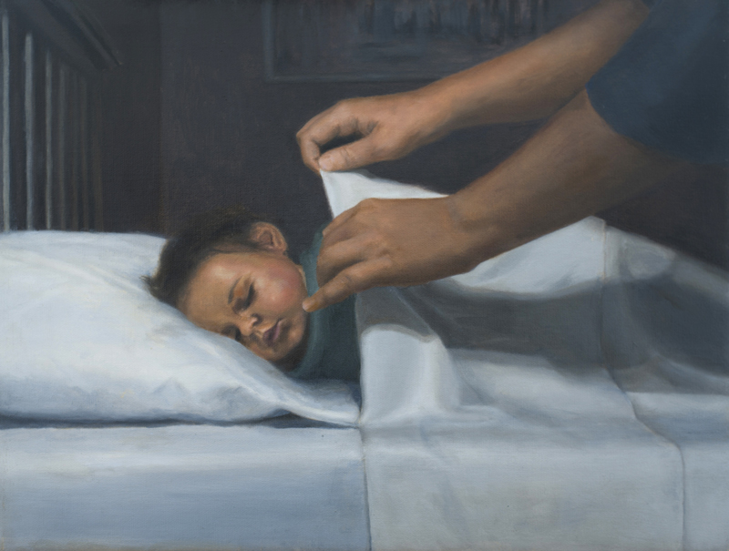 Child sleeping painting